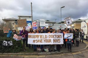 Junior doctors strike outside Broomfield Hospital